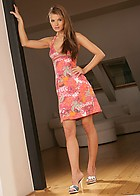 Brunette Babe Suzie Carina Drops Her Panties Shows Trimed Snatch - Picture 1